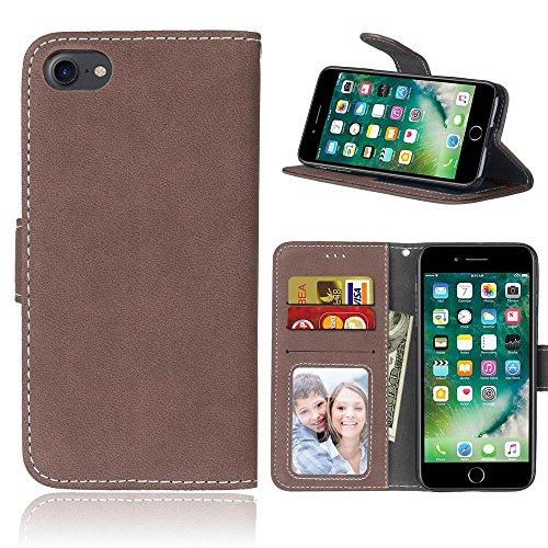 iPhone Case Cover IPhone7 Case, couleur unie Premium PU Housse en cuir Housse Frosted Retro Flip Case Stand Case Avec Card Slots Cadres Photo Pour Apple IPhone 7 ( Color : 2 , Size : Apple IPhone 7 IP 3