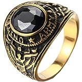 خاتم رجالي HIJONES من الفولاذ المقاوم للصدأ مع حجر (4 ألوان)