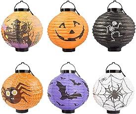 Foho 6 Stück Halloween Papierlaterne Kürbis Leuchtet Papierlaternen Tragbare Laternen Dekoration für Halloween Party