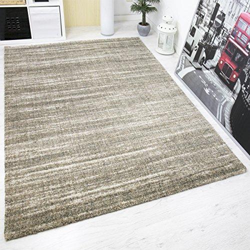 Teppich Hochwertig Schlaf- und Wohnzimmer Beige Modern Dichter Hoher Flor Mehrfarbige Melierung mit Used Optik - VIMODA, Maße:120x170 cm (Indoor-teppich-fliesen)