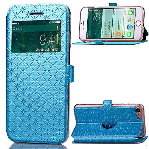 Case Cover per iPhone 7, Gray Plaid Design [View Window] Premium Flip PU Pelle Custodia Case Cover Per iPhone 7 - Oro Blu