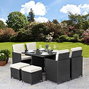 Rattan cube garden furniture set 8 seater outdoor wicker for Outdoor furniture amazon