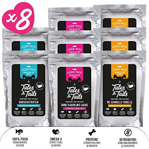 Tales & Tails® - Nassfutter für Hunde aus 100{8bd733f2656c0494ec1db917cb4d4fb5f50986032d3cda5a2e87169428c1c56d} isländischem Fisch | Getreidefreies Hundefutter, Natürlich, Nährstoffreich, Zuckerfrei| Probepaket mit 3 Sorten: Dorsch, Forelle, Lachs | 8x100g