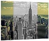 Pixxprint New Yorker Skyline mit Empire State Building Schwarz/weiß, MDF-Holzbild im Bretterlook Format: 80x60cm, Wanddekoration