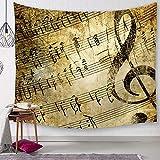 Morbuy Kreativ Tapisserie 150 x 200cm, Dekor Wandteppich Tapestry Music Motiv Wandbehang aus Polyster Wandtuch Tischdecke Meditation Strandtuch Yogamatte (Groß (150 x 200cm), Alte Noten)