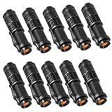 10 Stück Super Hell Praktische LED Taschenlampe Superhell Fokus Zoom Cree Q5 Flashlight Taschen Lampe AA Batterie für Campen, Wandern und Fahrradfahren