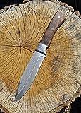 Bowiemesser mit Klinge aus Federdamast Kampfmesser Damastmesser Messer LARP Ritter Samurai Mittelalter Verkauf ab 18 Jahren