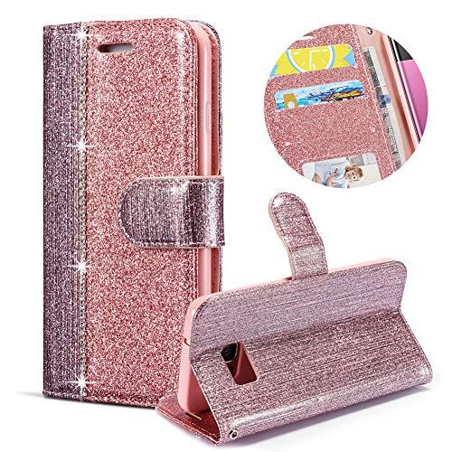 Rose Gold Glitzer Brieftasche für Samsung Galaxy S7 Edge,Strass Handyhülle für Samsung Galaxy S7 Edge,Moiky Luxus 3D Diamante Magnetisch Kunstleder Stand Stoßdämpfende Handytasche mit Weich Silikon Gold Chop Plate