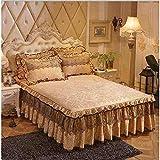 Jupe de lit Pink Princess Lace Bedspread Bed Skirt Pillowcase 1/3pcs Velvet Thick...