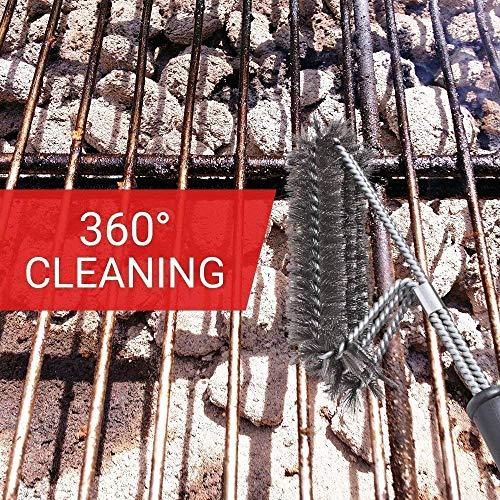 "61ASk7OLNXL - Sainlogic Grillbürste, 3 in 1 bürste Reinigungsbürste, Edelstahlborsten,360° Reinigung, 18"" Extra Langer PP Wärmedämmung Griff"