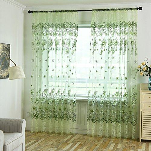 Display08 fashion fiore ricamo ultra-sottile finestra tenda velata divisore home decor green