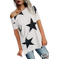BUOYDM Donna Camicetta Estivo Camicia Casuale T-Shirt Basic in Cotone Senza Spalline Stampate Stella Maglietta Top…