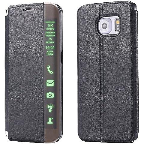 Nero Bookstyle Telefono Custodia in Pelle per Samsung Galaxy Note 5 - Yihya Premium PU Leather Case Flip Folio Cuoio Copertura Caso Smart Clear Touch Slim Pouch Cover Supporto Stand--Black