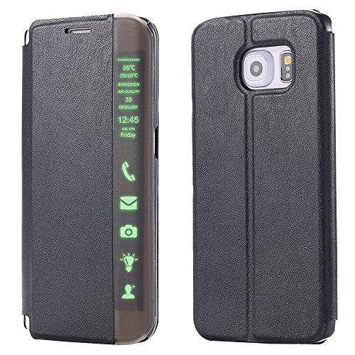 Nero Bookstyle Telefono Custodia in Pelle per Samsung Galaxy S6 edge Plus G9280 - Yihya Premium PU Leather Case Flip Folio Cuoio Copertura Caso Smart Clear Touch Slim Pouch Cover Supporto Stand--Black