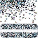 4800 Piezas de Piedras de Diamantes de Imitación Hot Fix Cristales Redondos Gemas Planas Piedras de Vidrio en Caja de Almacenamiento (Cristal AB)