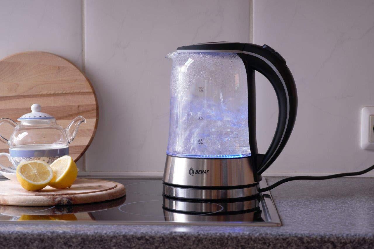 BeLeaf-Glas-Wasserkocher-Teekocher-17-Liter-2200-Watt-kabellos-LED-Beleuchtung-Cool-Touch-Griff-Basisstation-mit-Kabelaufwicklung-berhitzungsschutz-Abschaltautomatik-schwarz