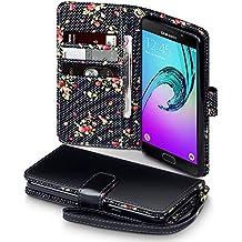 Coque Cuir Galaxy A5 2016, Terrapin Étui Housse en Cuir pour Samsung Galaxy A5 2016 Cover - Noir (Fleur à l'intérieur)