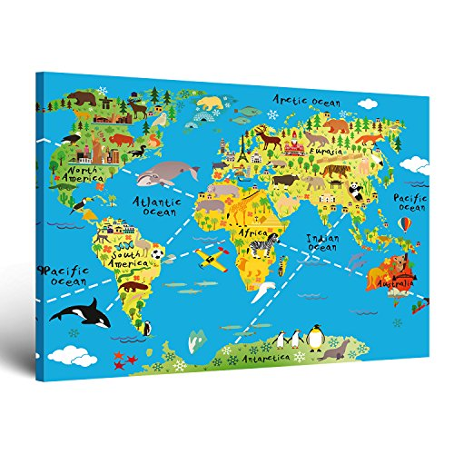 """ge-Bildet® Bild auf Leinwand MIT HERBST RABATT """"Weltkarte für Kinder - Hellblau"""" bild für kinderzimmer - 100x70 cm einteilig XXL - direkt vom Hersteller aus Deutschland - Made in Germany 2202 K"""