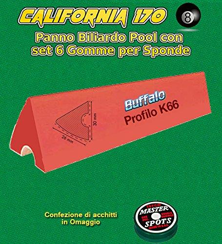 Panno biliardo pool R.L. by Longoni California cm.340x170, verde per piano e sponde pool 9 piedi, con buche, misure campo da gioco cm.254x127, ardesia cm.272x145. con set di 6 gomme per sponde Elite K66 cm.122 ed
