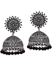 dd0156f44 V L Impex Sun Shape Lightweight Metal With Black Color Silver Plating  Oxidised Jhumki Jhumka Earring For