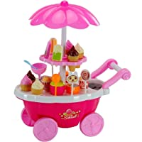 Childo® Ice Cream Play Cart Kitchen Set Toy with Lights and Music, Small- Multi-Color-Sweet Cart Candy