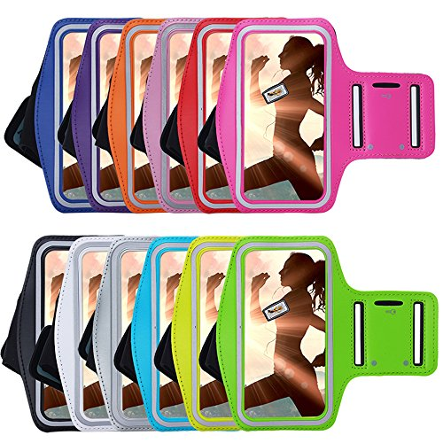 AllDo Brassard Sport pour iPhone 4/4S/5/5S/5C/SE avec porte-clés Jogging Gym Running Workout,Confortable Avec Sangle Réglable - Bleu Ciel Rouge