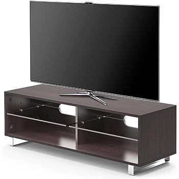 "1home TV Stand Cabinet Gloss Shelf Glass upto 60"" Flat Screen LED LCD TVs Cherry Walnut"