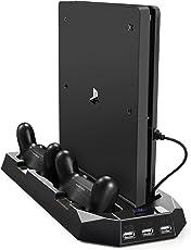 ventola di raffreddamento per PS4 e PS4 SLIM, PECHAM Verticale Stand con Doppia Stazione Ricarica Controller e ulteriori 3 porte USB