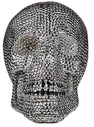 Silberfarbener Deko-Totenkopf mit Glassteinbesatz