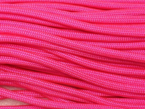 Pepperlonely 100 ft Type Iii Rose fluo 550 Paracord Corde de Parachute 7 brins Made In Usa