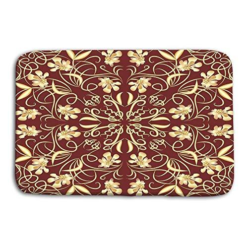 LIS HOME Küche Boden Bad Eingang Fußmatten Teppich dekorative Vintage Fliese goldene Blumen Windung Muster Art-Deco-Stil Eps rutschfeste Badezimmermatten -