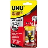 UHU Sekundenkleber blitzschnell Minis, Extrem starker, flüssiger Sekundenkleber - 3 Minis in einer praktischen Aufbewahrungsb
