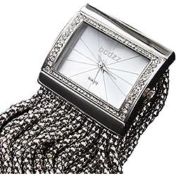 Damen-Armbanduhr, Tschechischer Diamant, Zifferblatt, Silber-Armband, Armbanduhr für Damen, Armbänder, Armreifen, Fashion, Casual, Quarz-Armbanduhren