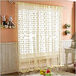 PINDIA Heart 2 Piece Polyester Windows Curtain - 6ft, Cream
