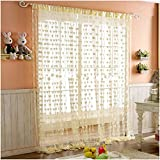 Pindia Heart Polyester Windows Thread Curtain - 6ft, Cream