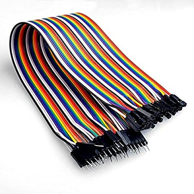 ApTechDeals DuPont Breadboard Jumper Wires - Male to Female - 40 Pin - 20cm