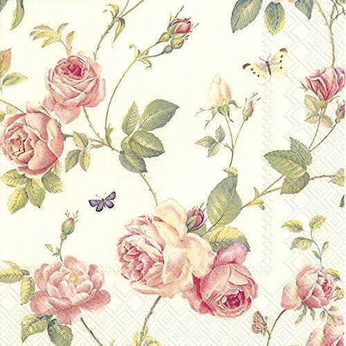 New Rambling Rose creme 3-lagig Serviette 20Stück, 33 x 33 cm
