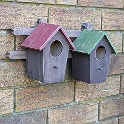 Doble Montado en la pared de madera casa para pájaros/caja Nido para el jardín