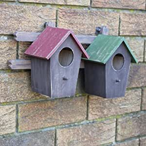 Double Wall Mounted Wooden Bird House / Nesting Box for the Garden