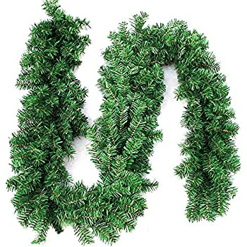 270cm X 25cm Plain Green Christmas Garland Decoration 9ft