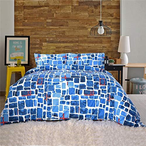 YUNSW Bettbezug Gedruckt Reaktiv Blau Reißverschluss König Königin Bettbezug Kissenbezug Volle Bettwäsche Heimtextilien C 230X230 cm -