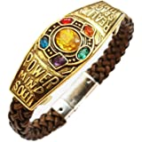 Yellow Chimes Marvel Avengers Infinity War Endgame Thanos 6 Gauntlet Power Stones Leather Bracelet for Boys and Men