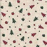 Tela Navidad - árboles de navidad con corazones y estrellas - rojo de Navidad y verde de Navidad sobre un fondo crudo (aspecto lino) - 100% algodón suave | ancho: 145 cm (1 metro)