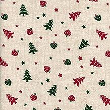 Tela Navidad - árboles de navidad con corazones y estrellas - rojo de Navidad y verde