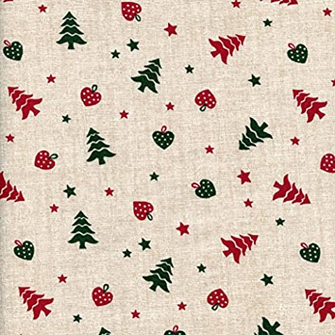 Merry Little Christmas fabric - festive red and green on linen pearl base cloth | 100% Cotton Print | 145 cm (57 inches) wide | Per half metre