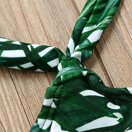 Italily -Donne bikini Costumi da bagno donna costume da bagno stampa costume da bagno di grandi dimensioni Costume da bagno in garza con filato largo Green