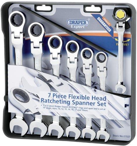 Draper Expert 07037 - Set di chiavi combinate a cricchetto flessibile (Confezione da (Aperto A Cricchetto Wrench Set)