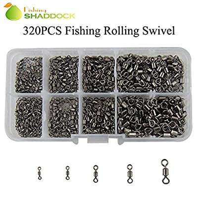 320pcs/box High-strength Heavy Duty Fishing Rolling Swivels Ball Bearing Swivel with Solid Rings Fishing Hook Connector Tackle Box by Shaddock Fishing