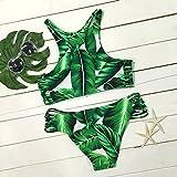 - 61ATnQ8sHdL - Dare Color Damen Kokosnussbaum Drucken Bikinis Sets Badeanzug Blumen Strappy Cut Outs Bademode Badeanzug Gepolstert Strandkleidung mit Tropische Blätter (XL)