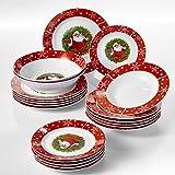 VEWEET, Serie SANTACLAUS, 20-teilig Porzellan Tafelservice, Geschirrset für Weihnachten, mit Dessertteller, Suppenteller, Speiseteller und Salatschüssel